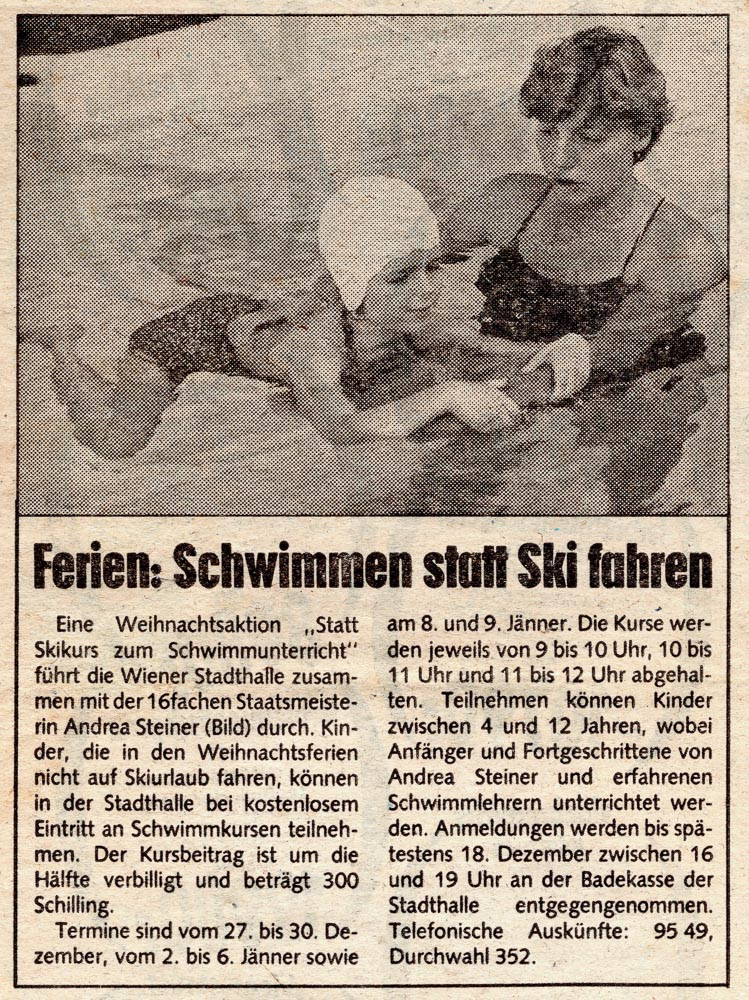"""Swimming lessons instead of school skiing lessons"" - A Christmas campaign by Steiner Swimming School in the 80s"