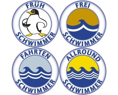 Frühschwimmer, Freischwimmer, Fahrtenschwimmer and Allroundschwimmer badges are part of our regular swimming course program