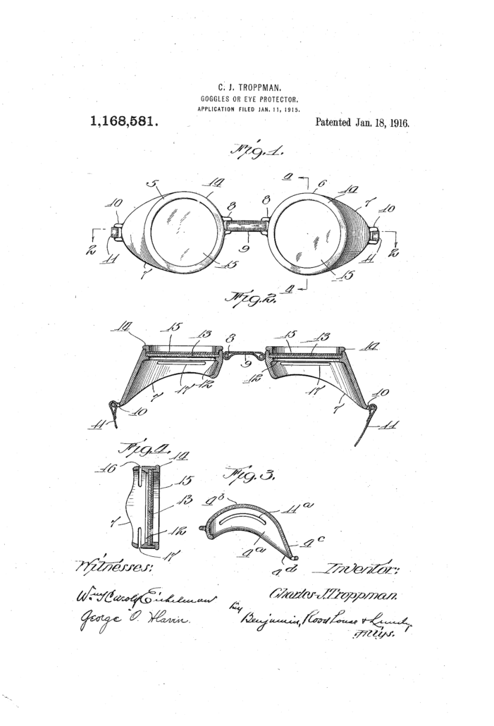 In 1916, Charles J. Troppman presented protective goggles for water, which he patented as diving goggles.