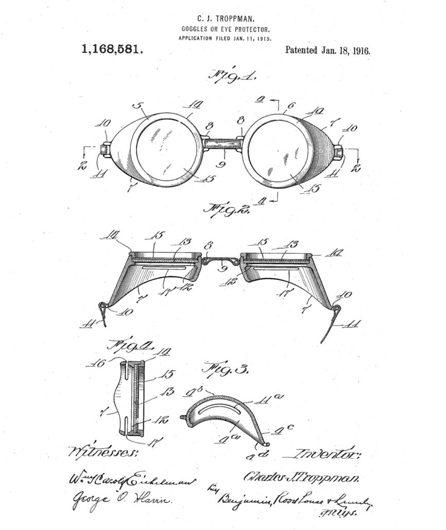 1916 präsentierte Charles J. Troppman eine Schutzbrille fürs Wasser, die er als Taucherbrille patentierte.